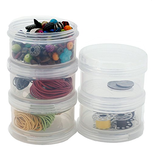 Containers Storage Small Impact Resistant Stackable Clear 5 for Beads Crafts Findings Small Items 2.50 Round