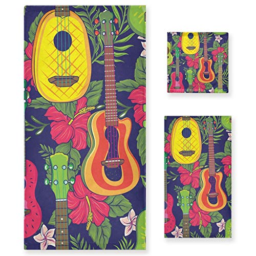Juego de Toallas de baño de Lujo de algodón de 3 Piezas para Mujeres, Hombres, baño, Cocina, 1 Toalla de baño, 1 Toallas de Mano, 1 toallitas, Guitarra Colorida Pop