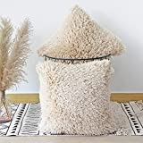 JOJUSIS Fluffy Decorative Throw Pillows Covers 18x18 Inch Luxury Soft Faux Fur Fleece Cushion Cover Pillowcase Pack of 2 Beige