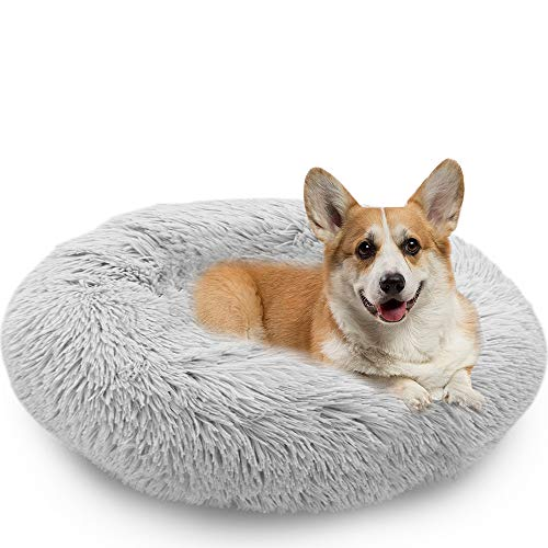 MMTX Donut Lettini per Cani Cuccia per Gatti Cuscino per Cane Divano Materassino Rotondo Letto Peluche Morbido da Animale Domestico per Gatti e Cani Lavabile Fondo Antiscivolo (XL:70cm, Grigio)