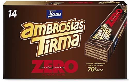 Tirma Ambrosías Zero Chocolate 70% Cacao, Sin Azúcares Añadidos, 14 Unidades X...