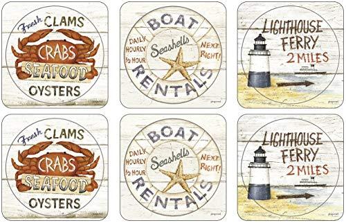 Pimpernel 10,5 x 10,5 cm, MDF, Kork, Coastal Zeichen Untersetzer, 6 Stück, mehrfarbig, Farbe