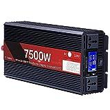 LONGRING Inversor Nominal 3000W / Pico 6000W DC 12V / 24V / 48V / 60V A 240V 230V 220V AC Pantalla Digital Dual 2 Enchufes AC Adaptador De Coche Cantonape Ventilador,48v 220v 7500w