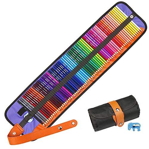Buntstifte Set, Hospaop 72 Brillanten Farben Bleistift Set mit Rollbaren Canvas Tasche und Anspitzer, Bleistifte, Malstifte, Zeichnen für Künstler Kinder und Erwachsene