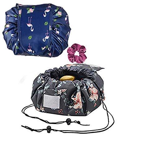 Fumxin Grande trousse de toilette de voyage avec cordon de serrage pour femme et fille Bleu bleu 7.5in//21cm*6.6in//24cm