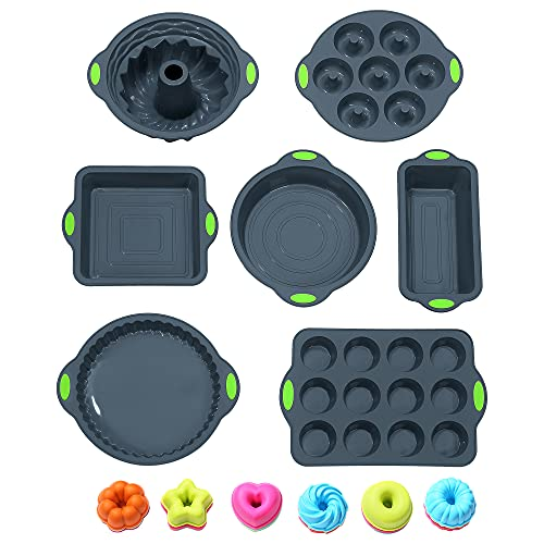 To encounter 31 Pieces Silicone Bakeware Set - 7 Silicone Baking Pans - 24 Silicone Donut Molds, Nonstick Silicone Molds with Metal Reinforced Frame More Strength, Dark Grey with Green