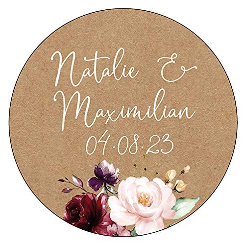 48 x Personalisierte Aufkleber in 40 mm Hochzeit Vintageflower Gastgeschenk Etikett