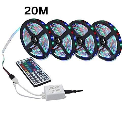 CMCCE LED-strips, RGB, LED, 5 m, 20 m, adapter, 12 V, flexibel, niet 44 toetsen, waterdicht, set voor binnen, 230 V