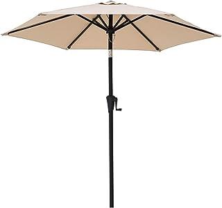 C-Hopetree - Sombrilla de jardín para exteriores con manivela e inclinación (2,1 m)