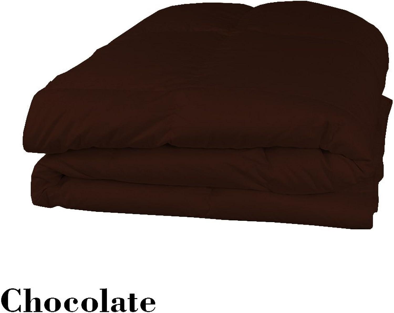 Dreamz Parure de lit Super Doux 550Fils 100% Coton 1Housse de Couette (100g m2 Fibre Fill) UK Petite Taille Unique Longue, Chocolat Marron Solide Coton égypcravaten 550tc Doudou