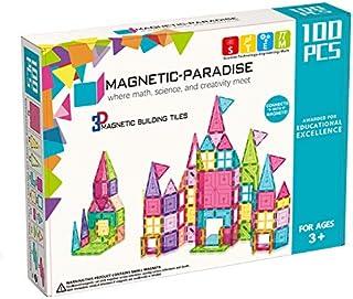 Lenosed 3D Magnetic Paradise Vibrant Clear Color Building Tiles Toy (100 Pieces)