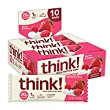 think! High Protein Bars, 20g Protein, 1g Sugar, No Artificial Sweeteners, Berries and Crème, 10 Count