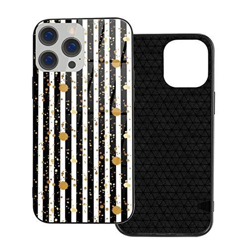 MEUYGOFLZ Compatible con iPhone 12 Pro Max, carcasa de cuerpo completo, carcasa de cristal TPU suave para iPhone 12 Pro Max 6.7 pulgadas, diseño de rayas, color dorado