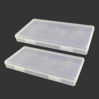 Qualsen 2 Piezas Cajas de plastico con Tapa, Organizador almacenaje Transparentes pequeñas para Tornillos, Abalorios, 19.5 x 10.5 x 2.3 cm