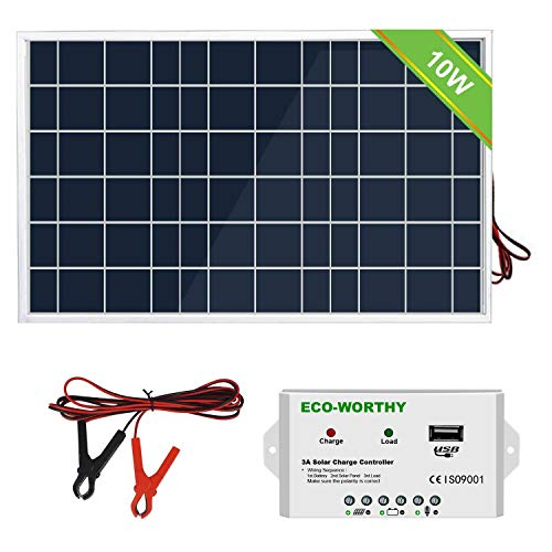 ECO-WORTHY 10W 12V Portable Waterproof PV Polycrystalline Solar Panel System kit with Charge Controller & 30 A Battery Clips Adapter