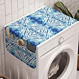 Ambesonne Psychedelic Washing Machine Organizer, Grunge Style Hippie Eastern Like Indonesian Folk Effect Design, Anti-slip Fabric Cover for Washers and Dryers, 47' x 18.5', Pale Blue
