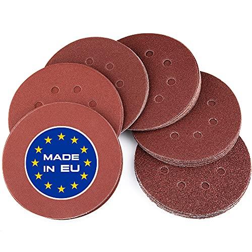 BECURA Schleifpapier 125mm Klett SET [Qualität Made in EU] - 60x je 10x 40, 60, 80, 120, 180, 240 - DIY Schleifscheiben 125mm Klett für Exzenterschleifer Schleifpapier rund für Holz, Metall, Farbe