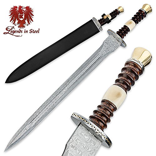 K EXCLUSIVE Legends in Steel Renaissance Heartwood and Bone Damascus Sword