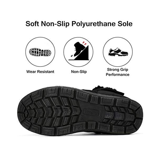 Pumoes Womens Warm Snow Boots Winter Waterproof Fur Lined Ankle Outdoor Boots Anti-Slip Booties Comfortable Lightweight Walking Shoes Slip on Zipped Sneakers