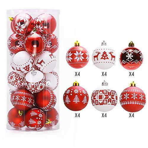 Lnkey 24 Palle Natale bianche e rosso, palle per albero di natale Decorazioni per Alberi di Natale, Nozze, Partito Decorazione (24 / pacchetto,Rosso e bianche, diametro 60mm)