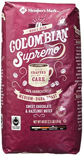 Member's Mark Colombian Supremo Whole Bean Coffee (40 OZ), Sweet Chocolate & Hazelnut Notes, 40 oz, Medium Dark Roast - PACK OF 2
