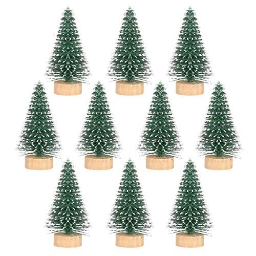 Wakauto Árbol de Navidad 2 Pulgadas Navidad Pequeños Árboles Juego de 10 Decoración de Escritorio Mini Árbol para Fiesta de Navidad Decoraciones para El Hogar