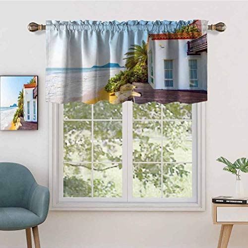 Hiiiman UV Blockout Curtain Valance Coastal Charm Themed Beach House Porch View Moroccan Style, Set of 1, 54'x18' for Children Kids Room