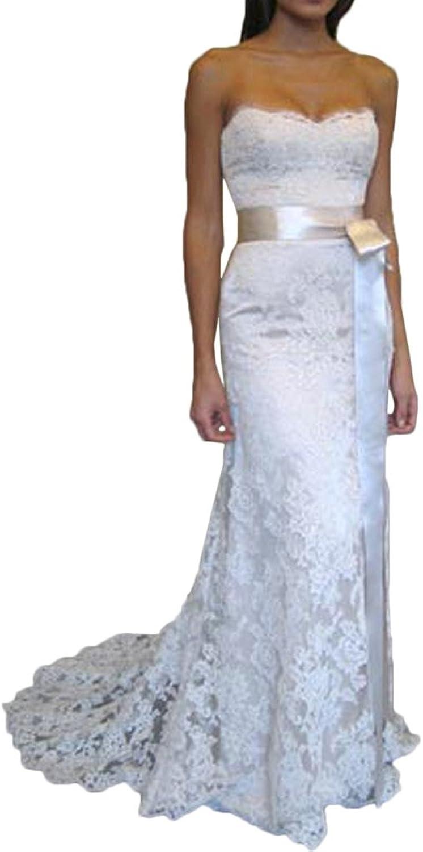 Avril Dress Strapless Sheath Ribbon Satin Lace Applique Wedding Dress Long Train