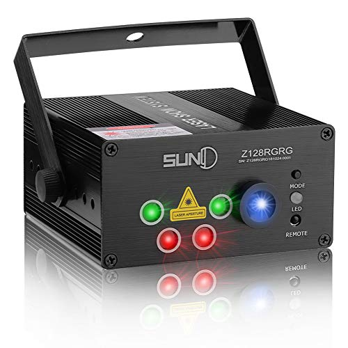 SUNY Laser Lights Music Laser Projector 128 Combinations Gobos Projector Indoor 5 Lens Decoration Light Blue LED Remote Control Stage Lighting Red Green Sound Activated Party House Xmas RG Laser Light