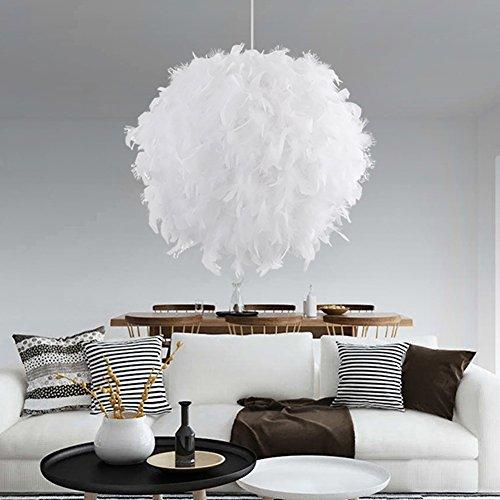 Moderne Feather Ball E27 Led Pendelleuchten Leuchten Hänge Globe Deckenleuchte Kronleuchter für Kinder Schlafzimmer Esszimmer Wohnzimmer Restaurants Dekoration Droplight Weiß (keine Glühbirne)