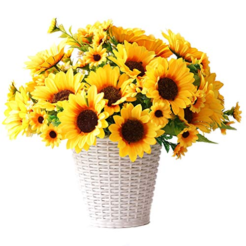 UUPP 2 Bunches Artificial Sunflowers Fake Silk Flower Bouquet Artificial Flowers for Home Wedding Office Party Decor, 11.8''