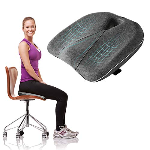 Ohiyoo Cojín de asiento, cojín de espuma viscoelástica portátil para oficina, cojín de silla de espuma viscoelástica para aliviar el coxis para oficina, casa, silla de ruedas y coche, incluye