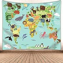 Kids Educational Animal Landmarks World Map Blue Tapestry, Wall Home Decor Art for..