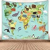 Kids Educational Animal Landmarks World Map Blue Tapestry, Wall Home Decor Art for Nursery, 60 x 50