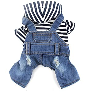 DOGGYZSTYLE Pet Dog Cat Clothes Blue Striped Jeans Jumpsuits One-Piece Jacket Costumes Apparel Hooded Hoodie Coats for Small Puppy Medium Dogs (L, Blue)