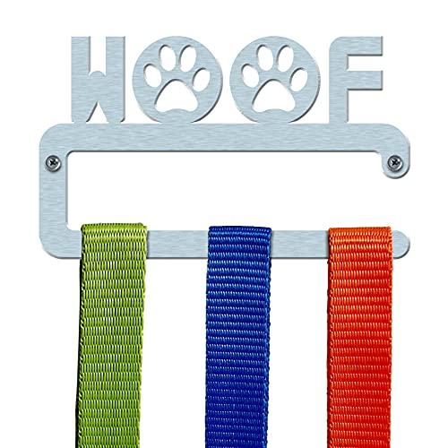 Dog Lead Holder Woof Straight Bar Hundeleine/Zubehör Halterung aus Edelstahl gebürstet 'Woof' gerade Bar Design–Made in Großbritannien