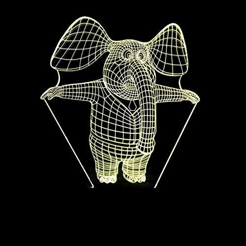 Lamp 3D illusie, nachtlampje, led, optisch, olifant, 7 modellen, touch-control licht, nachtlampje, kunst decoratie, voor een romantische sfeer voor kinderen, kinderen, bedlampje voor slaapkamer, nachtkastje, tafel