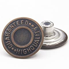 The Jean Buttons are made of high quality brass which makes it rust & corrosion free You will get 12 sets 20mm jean tack buttons at the list price All you need is a hammer for quick and easy button installation Jean button diameter: 20mm (0.79inch) U...