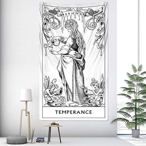 Tarot Divination - Tapiz de decoración para el hogar de brujería Mandala decoración de pared hippie, decoración bohemia