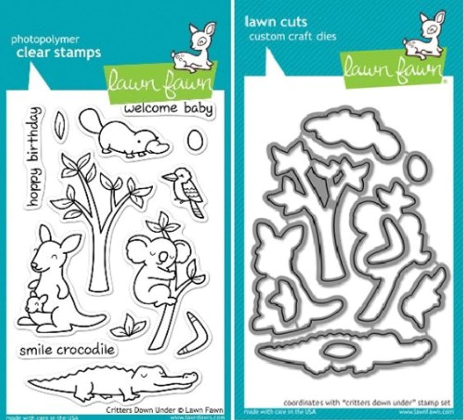 Lawn Fawn Critters Down Under Clear Stamp and Die Set - Includes One Each of LF391 (Stamp) & LF684 (Die) - Custom Set