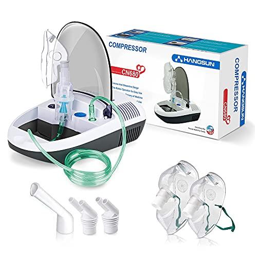 HANGSUN Aerosol Silenzioso a Pistone per Aerosolterapia CN680 per Trattamento di Malattie Respiratorie Come Raffreddore, Rinite e Asma, Con Accessori per Adulti e Bambini