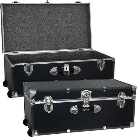 Mercury Luggage Seward Trunk Wheeled Storage Footlocker, 30' (Black)