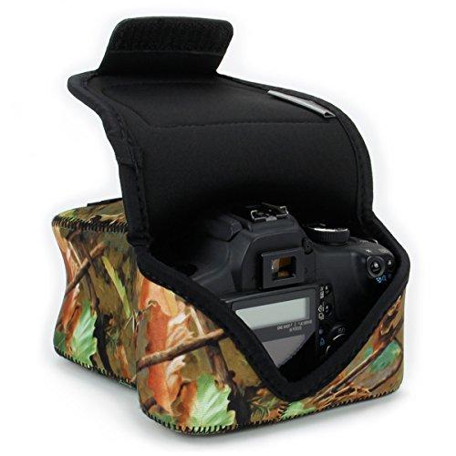USA Gear Funda para Cámara DSLR con Protección de Neopreno, Presilla para Cinturón y Almacenamiento de Accesorios - Compatible con Nikon D3400, Canon EOS Rebel SL2, Pentax y más - Madera Camuflaje