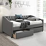 Twin Size Daybed, Upholstered Daybed with Two Drawers, Wood Slat Support Day Bed Frame, Gray