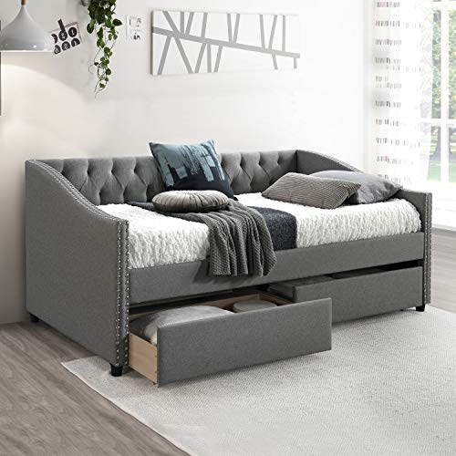 Upholstered Daybed with Storage Drawers, Wood Daybed Twin Size, No Box Spring Needed, Grey