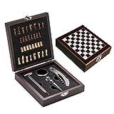 Set regalo vino con termometro apribottiglie tappo salvagoccia e gioco degli scacchi