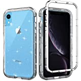 iPhone XR Case, WHOBEE Clear Glitter Heavy Duty Shockproof Scratch Resistant Hybrid Three Layer Protective Cover Case Hard PC Shell Soft TPU Bumper Cover for iPhone XR 6.1 inch 2018, Clear Glitter