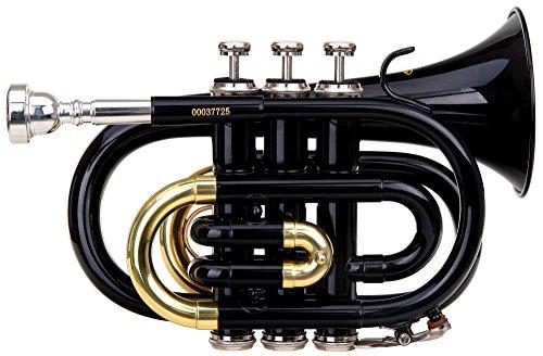 Classic Cantabile Brass TT-400 B-Taschentrompete (Messing, Schallbecher Durchmesser: 93 mm, Bohrung: 11,8 mm, Stimmung: B, inkl. Leichtkoffer, Mundstück, Putztuch, Handschuhe) schwarz