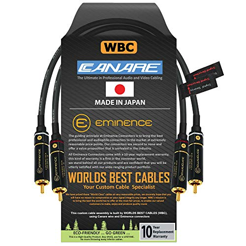 0.5 Foot RCA Cable Pair - Canare L-4E6S, Star Quad, Audio Interconnect Cable with Premium Gold Plated Locking RCA Connectors - Directional - Custom Made by WORLDS BEST CABLES.
