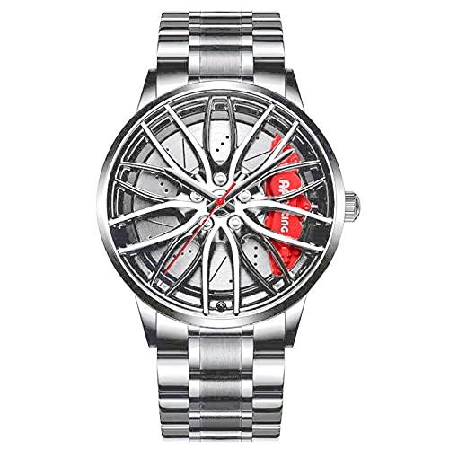 Reloj de pulsera creativo para hombre, reloj de pulsera para llantas de coche, reloj de pulsera, reloj deportivo resistente al agua, con rueda de coche, de cuarzo, 3D para hombre,Correa de plata(B)
